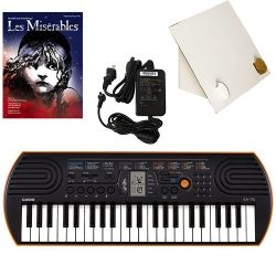 Casio SA-76 44 Key Mini Keyboard Deluxe Bundle Includes Bonus Casio AC Adapter, Desktop Music St ...