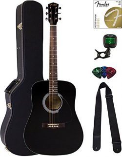 Fender FA-100 Dreadnought Acoustic Guitar – Black Bundle with Hard Case, Tuner, Strings, S ...