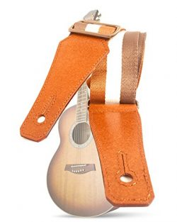 Guitar Strap With Soft Cotton Webbing & Genuine Leather Banjo Strap for Bass, Electric and A ...