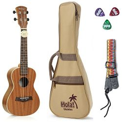 Concert Ukulele Bundle, Deluxe Series by Hola! Music (Model HM-124MG+), Bundle Includes: 24 Inch ...