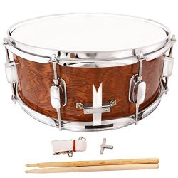LAGRIMA 14×5.5 inch Glossy Finish Snare Drum Set Sticks Dark Wood Shell Percussion for Begi ...