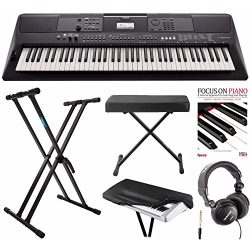 Yamaha PSREW410 76-key Portable Keyboard with Power Adapter, Knox Double X Keyboard Stand, Bench ...