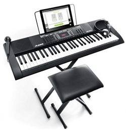 Alesis Melody 61 MKII Beginner Bundle | 61-Key Portable Keyboard with Stand, Bench, Headphones,  ...