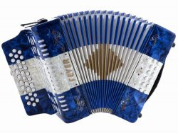 Fever F3112-BWB Button Accordion 31 Keys, 12 Bass on GCF Key, Blue, White and Blue