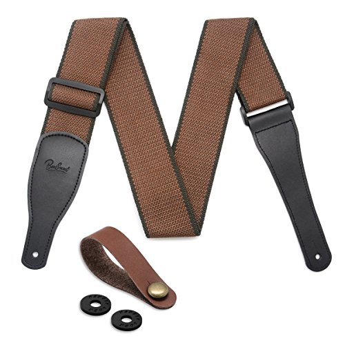 Guitar Strap 100% Soft Cotton & Genuine Leather Ends Guitar Shoulder Strap With Guitar Strap ...