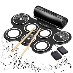 Electric Drums for Kids Roll Up Beginner Drum Set Practice Drum Pad USB MIDI Built in Speaker Dr ...