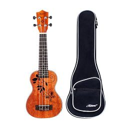Makanu Soprano Ukulele 21 Inch Mahogany Ukulele with Tattoo Kids Guitar for Professional – ...