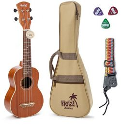 Hola! Music HM-121MG+ Deluxe Mahogany Soprano Ukulele Bundle with Aquila Strings, Padded Gig Bag ...