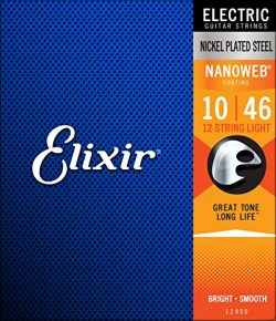 Elixir Strings 12-String Electric Guitar Strings w NANOWEB Coating, Light (.010-.046)