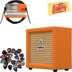 Orange Crush Mini Guitar Combo Amplifier Bundle with Instrument Cable, Pick Sampler, and Austin  ...