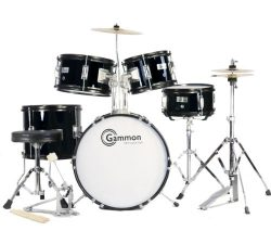 Complete 5-Piece Black Junior Drum Set with Cymbals Stands Sticks Hardware & Stool for Kids  ...