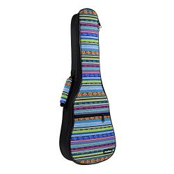 CLOUDMUSIC Hawaiian Ukulele Case Vintage Blue Ukulele Backpack 10MM Padded Ukulele Gig Bag (Sopr ...