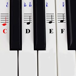 Piano Stickers for 49/61/76/88 Key Keyboards – Transparent and Removable with Free Piano Ebook;  ...