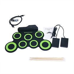 YaeTek Electronic Roll up Drum Set, 7 Pad Portable Electronic Drum Pad kits Foldable Practice In ...