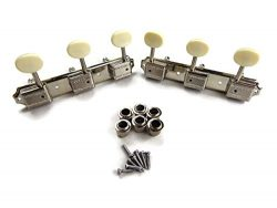 Nickel Wilkinson Vintage Style 3+3 Plate Tuning Pegs Tuner Guitar Cream Buttons