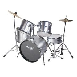 Mendini MDS100-SR Complete Full Size Senior 5-Piece Silver Drum Set with Cymbals, Drumsticks and ...