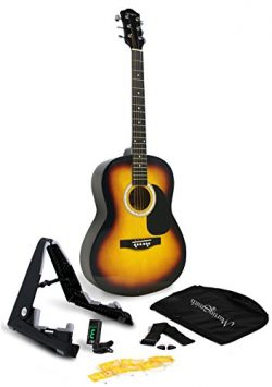 Martin Smith W-101-SB-PK Acoustic Guitar Super Kit with Stand, Natural, Sunburst