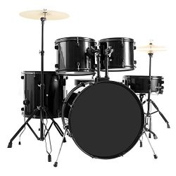 New 5-Piece Full Size Complete Adult Drum Set +Cymbal+Throne Black The Stands For Snare Drum, Hi ...