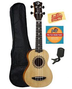 Luna Guitars Luna Vintage Spruce Soprano Ukulele Bundle with Gig Bag, Tuner, Austin Bazaar Instr ...