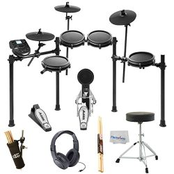 Alesis Nitro Mesh Electronic Drum Kit + Samson SR350 Studio Headphones + On Stage Drum Stick Hol ...