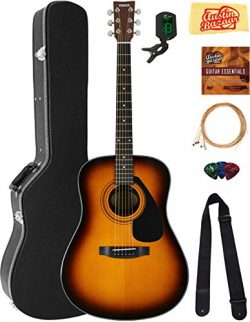 Yamaha F325D Dreadnought Acoustic Guitar – Tobacco Sunburst Bundle with Hard Case, Tuner,  ...