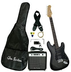 Glen Burton GE101BCO-BKB  Electric Guitar Stratocaster-Style Combo with Accessories and Amplifie ...