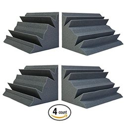 Acoustic Foam Bass Trap Studio Corner Wall 12″ X 7″ X 7″ (4 PACK)