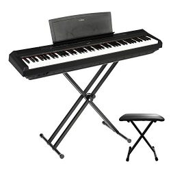 Yamaha P125B 88-Key with world-famous CFIIIS concert grand piano, the clear and melodic sound, S ...