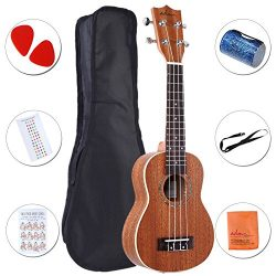 ADM Ukulele 21″ Soprano Mahogany Professional Starter Pack with Gig Bag, Strap and Picks
