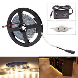 HitLights Warm White LED Light Strip Kit, 16.4 Feet – Includes Power Supply and Dimmer. 30 ...