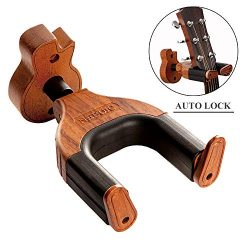 Guitar Wall Mount, Auto Lock Guitar Wall Hanger, Hard Wood Base in Guitar Shape Guitar Hook, Aco ...