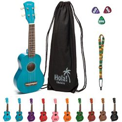 Hola! Music HM-21BU Soprano Ukulele Bundle with Canvas Tote Bag, Strap and Picks, Color Series & ...