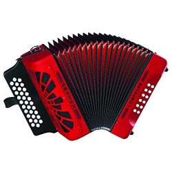 Hohner Button Accordion Compadre GCF, With Gig Bag And Straps, Red