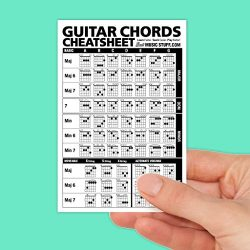Guitar Chords Cheatsheet Laminated Pocket Reference 4″x6″  Best Music Stuff
