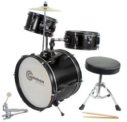 Drum Set Black Complete Junior Kid's Children's Size with Cymbal Stool Sticks – Sticks  ...