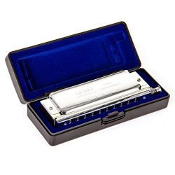 Chromatic Harmonica French Harp Mouth Organ Phosphor Bronze Key of C 10 Holes 40 Tone with Case  ...