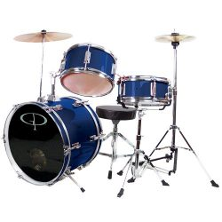 GP Percussion GP50BL Complete Junior Drum Set (Blue, 3-Piece Set)