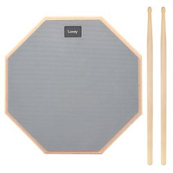 Luvay 12-inch Silent Drum Practice Pad (Grey), with 5A DrumSticks
