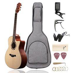 Beginner Acoustic Guitar Ranch 41″ Full Size Solid Wood Cutaway Beginners Steel String Gui ...