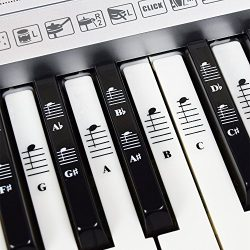 Piano and Keyboard Music Note Full Set Stickers for White and Black Keys with Piano Songs EBook; ...