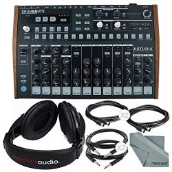 Arturia DrumBrute Analog Drum Machine and Accessory Bundle w/ Stereo Headphones + Cables + Fiber ...