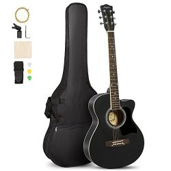 ARTALL 39 Inch Handcrafed Acoustic Cutaway Guitar Beginner Kit with Gig bag & Accessories, M ...