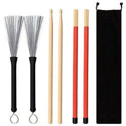 COCODE 1 Pair 5A Drum Sticks Maple Drumsticks Set 1 Pair Drum Wire Brushes Retractable Drum Stic ...