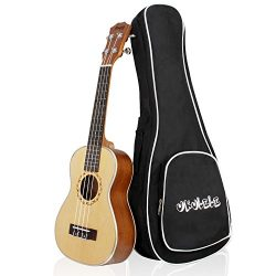 Mugig Concert Ukulele 23 Inches 4 Strings Spruce Top Panel Rosewood Fretboard Silver Geared Tune ...