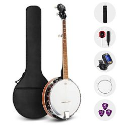 Vangoa 5 String Banjo Remo Head Closed Solid Back with beginner Kit, Tuner, Strap, Pick up, Stri ...