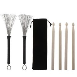 Loving Home 2 Pair Drum Sticks Classic Maple Wood Drumsticks Sets and 1 Pair Drum Wire Brushes R ...