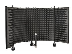Monoprice Microphone Isolation Shield – Black – Foldable with 3/8 inch Mic Threaded  ...
