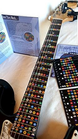 NeckNotes Guitar Trainer | Color Coded Fretboard Fret Map Guitar Note Stickers for Beginner to A ...