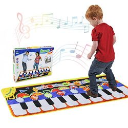 Musical Piano Mat 19 Keys Piano Keyboard Play mat Portable Musical Blanket Build-In Speaker &amp ...
