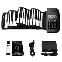 Lujex 88-Keys Roll Up Piano,Upgraded Portable Rechargeable Electronic Hand Roll Piano with Envir ...